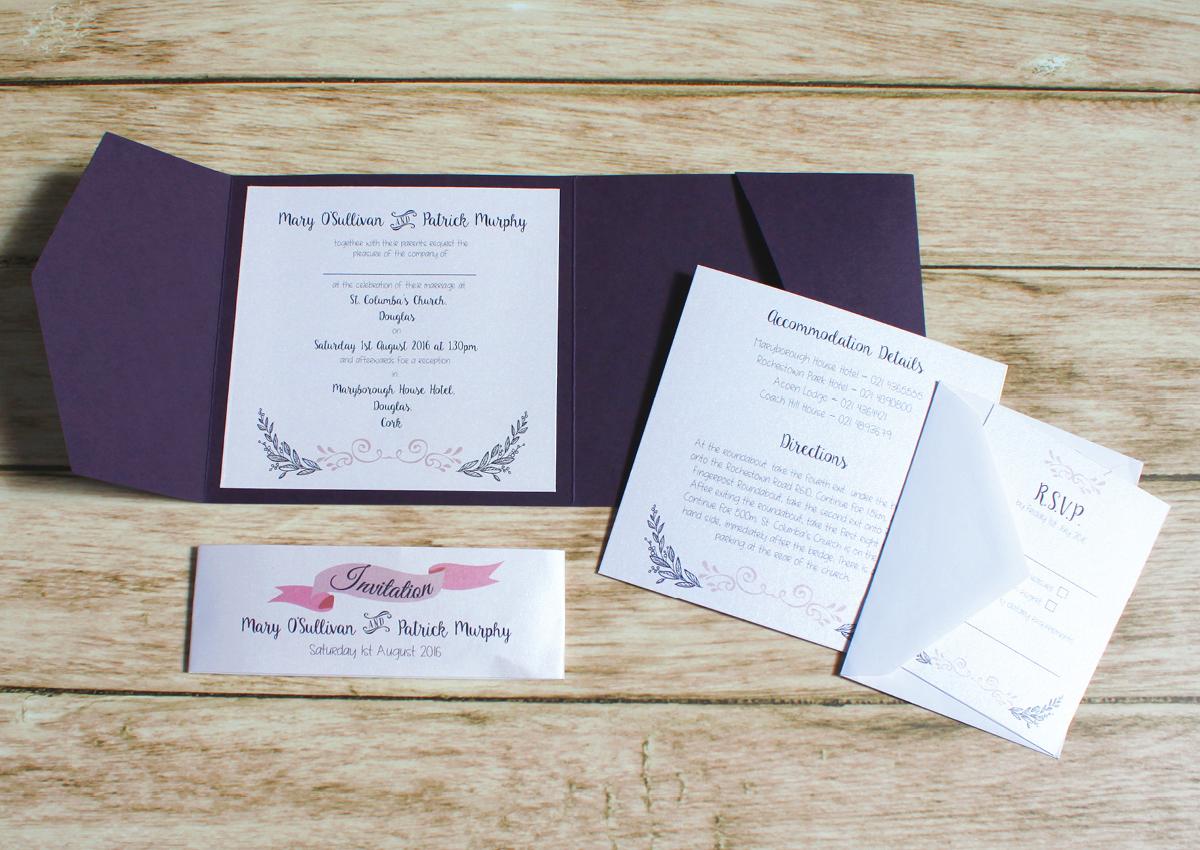 Wedding Invitations | Pocketfold Invites | Wedding Scribblers Cork